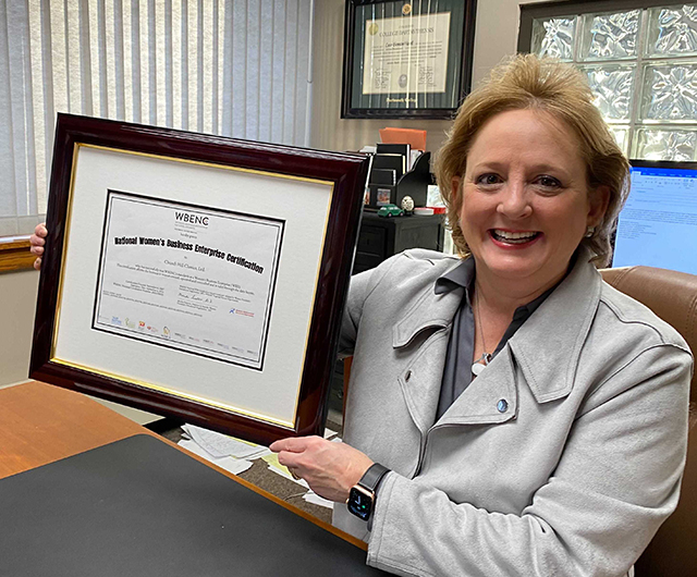 lucie with wbenc certificate frame