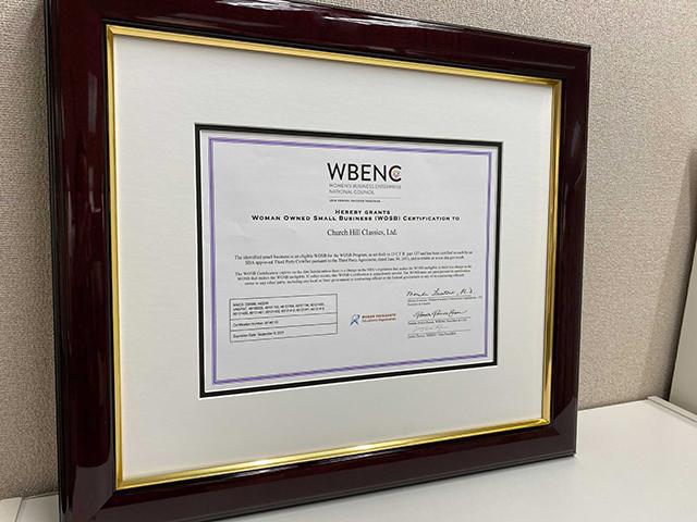 framed wbenc certificate