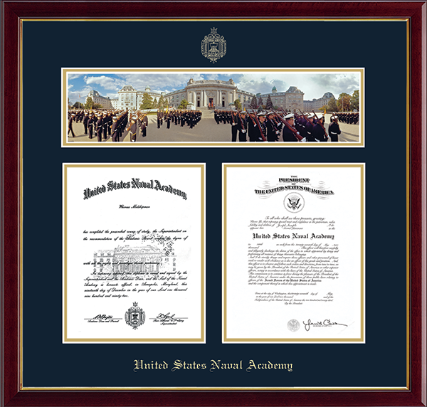 Bancroft Hall Campus Scene Double Diploma Frame in Galleria