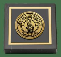 Arcadia University Gold Engraved Medallion Paperweight