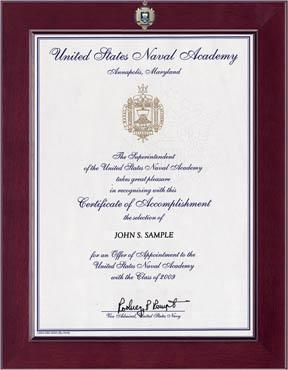 Century Masterpiece Acceptance Certificate Frame in Cordova