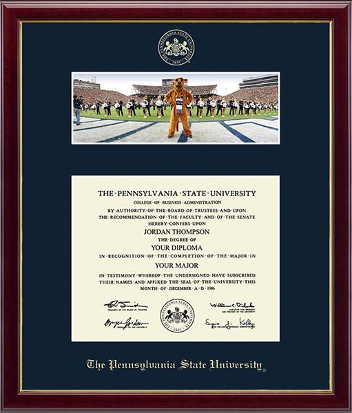 Campus Scene Diploma Frame - Mascot/Cheerleaders in Galleria
