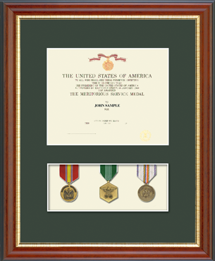 Military Certificate and Medal Display Frame - (Green) in Newport