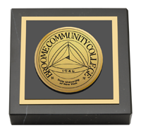 Broome Community College Gold Engraved Medallion Paperweight