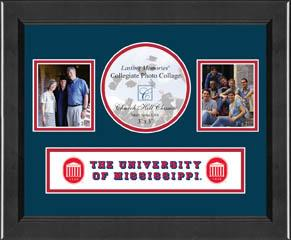 Lasting Memories Banner Collage Photo Frame - Navy / Red Mat in Arena