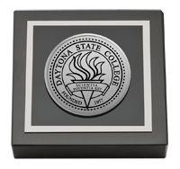 Daytona State College Silver Engraved Medallion Paperweight