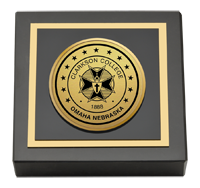 Clarkson College Gold Engraved Medallion Paperweight