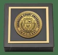 Georgian Court University Gold Engraved Medallion Paperweight
