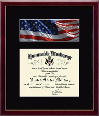 Honorable Discharge Certificate and Photo Frame - Flag in Galleria