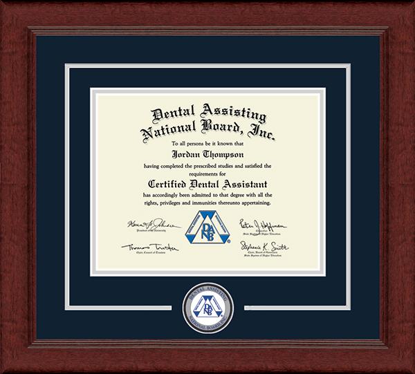 Dental Assisting National Board, Inc. Lasting Memories Circle Logo Certificate Frame in Sierra