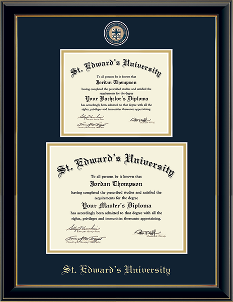 Masterpiece Medallion Double Diploma Frame in Onyx Gold
