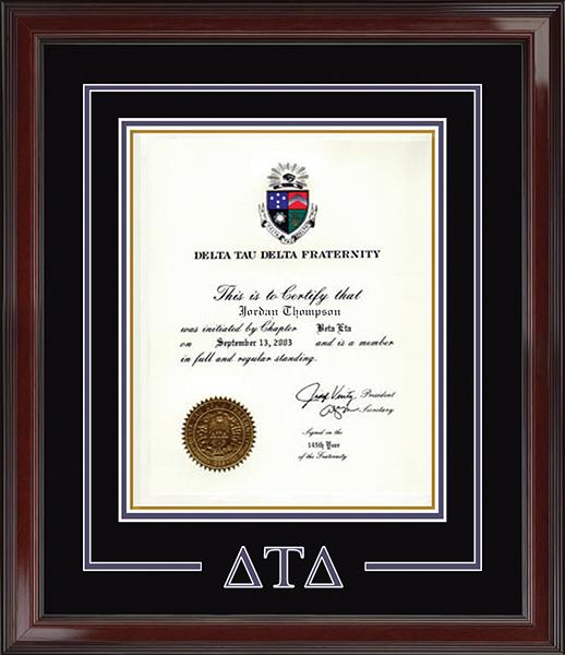 Spirit CutOut Greek Letters Certificate Frame in Encore