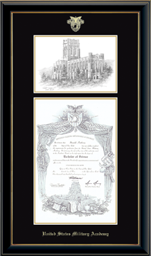Campus Scene Edition Diploma Frame in Onyx Gold