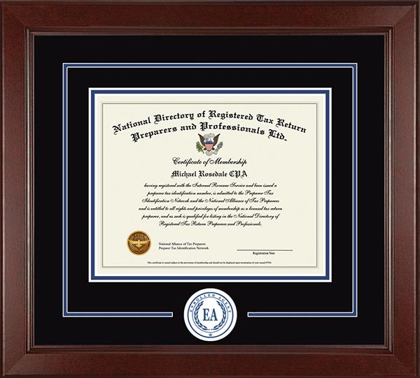 Enrolled Agent Lasting Memories Circle Logo Certificate Frame in Sierra