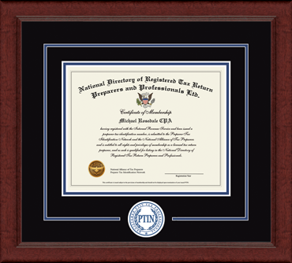 Registered PTIN Tax Professional Lasting Memories Circle Logo Certificate Frame in Sierra