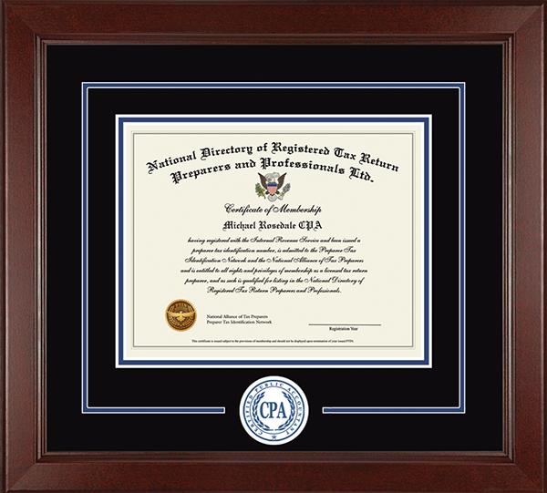 Certified Public Accountant Lasting Memories Circle Logo Certificate Frame in Sierra