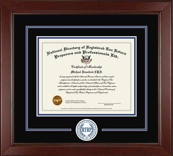Registered Tax Return Preparer Lasting Memories Circle Logo Certificate Frame in Sierra