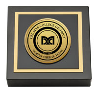 Del Mar College Gold Engraved Medallion Paperweight