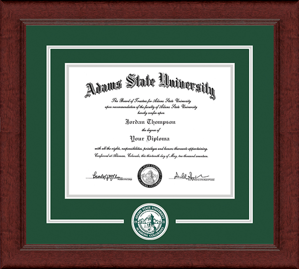 Adams State University  Lasting Memories Circle Logo Diploma Frame in Sierra