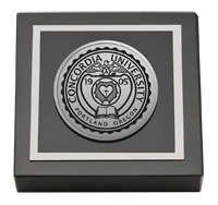 Concordia University Portland Silver Engraved Medallion Paperweight