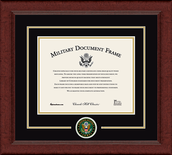 United States Army Certificate Frames Church Hill Classics