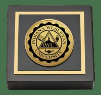 Indiana Wesleyan University  Gold Engraved Medallion Paperweight