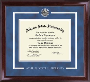 Silver Engraved Medallion Diploma Frame in Encore