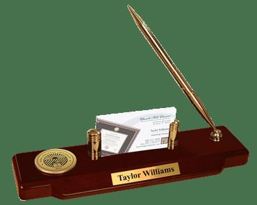 Iowa Wesleyan University Gold Engraved Medallion Desk Pen Set