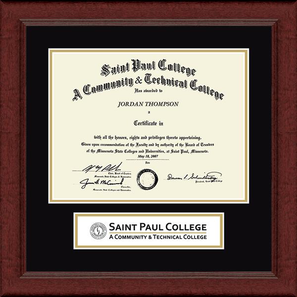 Saint Paul College Lasting Memories Banner Diploma Frame in Sierra