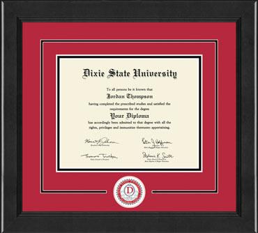 Dixie State University Lasting Memories Circle Logo Diploma Frame in Arena