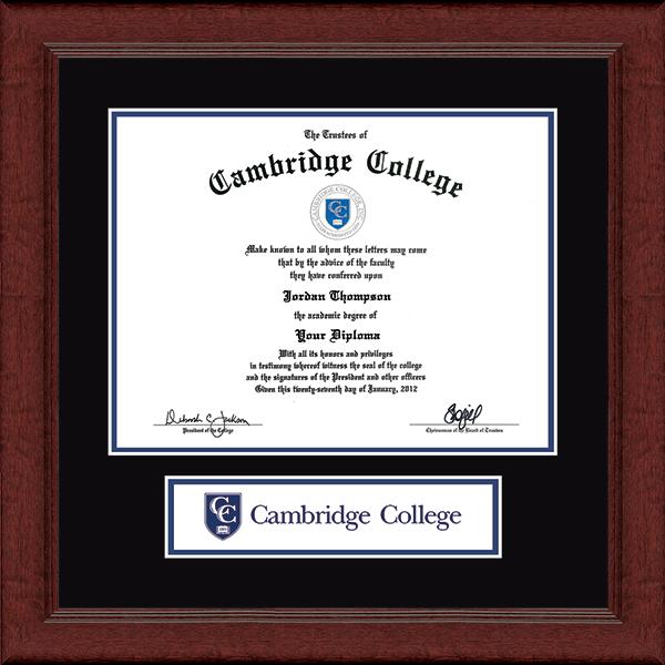 Cambridge College Lasting Memories Banner Collage Diploma Frame in Sierra