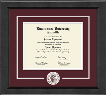 Lindenwood University-Belleville Lasting Memories Circle Logo Diploma Frame in Arena