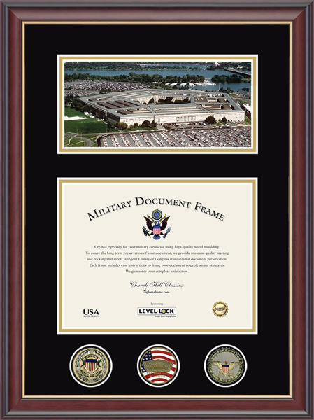 Panoramic Pentagon Document & Coin Frame in Studio Gold