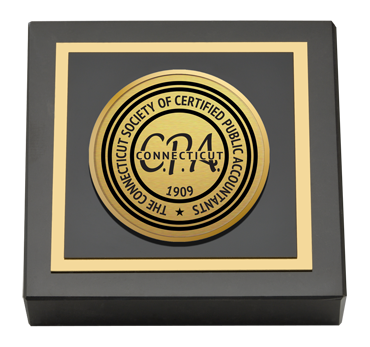 Connecticut Society of Certified Public Accountants Gold Engraved Medallion Paperweight