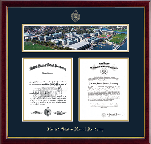 Aerial View Campus Scene Double Diploma Frame in Galleria