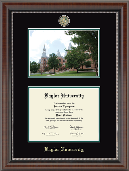 Baylor University Campus Scene Masterpiece Medallion Diploma Frame in Chateau