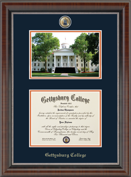 Campus Scene Masterpiece Medallion Diploma Frame in Chateau
