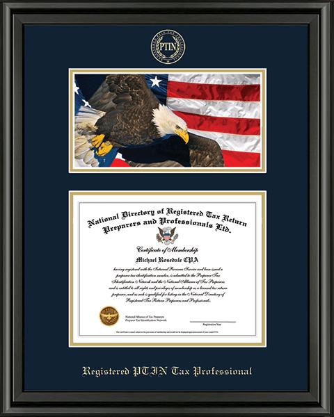 PTIN Directory Inc. Registered PTIN Tax Professional Campus Scene Certificate Frame in Midnight