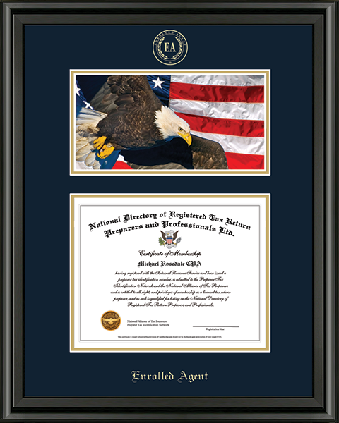 PTIN Directory Inc. Enrolled Agent Campus Scene Certificate Frame in Midnight