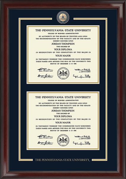 Masterpiece Medallion Double Diploma Frame in Encore