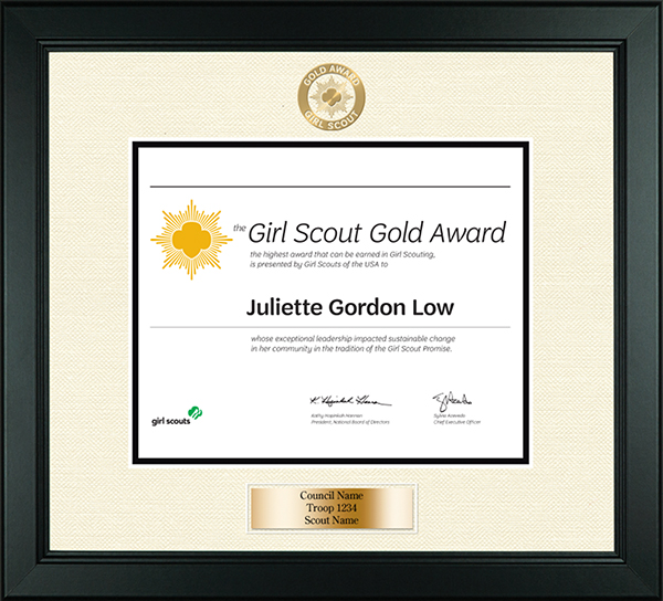 Girl Scout Gold Award Certificate Frame in Arena