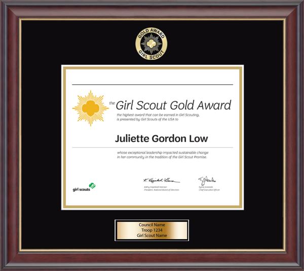 Girl Scout Gold Award Certificate Frame in Studio Gold