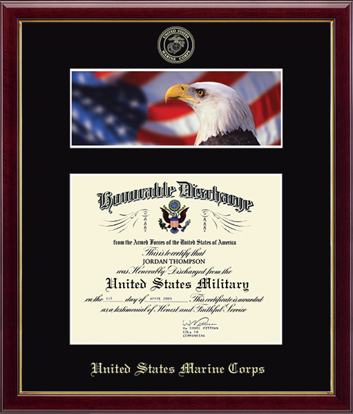 US Marines Photo and Honorable Discharge Certificate Frame - Flag and Eagle in Galleria