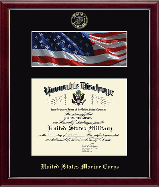 US Marines Photo and Honorable Discharge Certificate Frame - Flag in Galleria