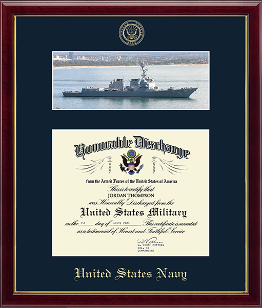 US Navy Photo and Honorable Discharge Certificate Frame - Navy Ship in Galleria