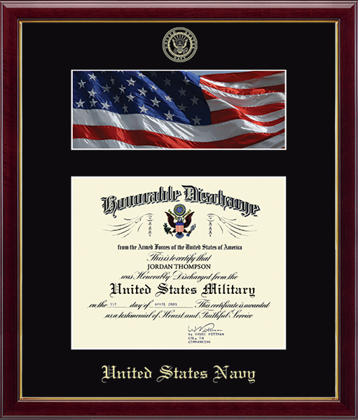 US Navy Photo and Honorable Discharge Certificate Frame - Flag in Galleria
