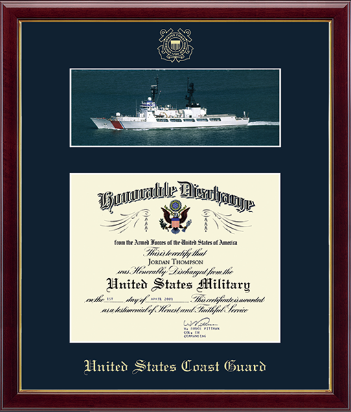 US Coast Guard Photo and Honorable Discharge Certificate Frame in Galleria