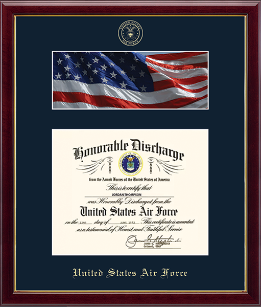US Air Force Photo and Honorable Discharge Certificate Frame - Flag in Galleria