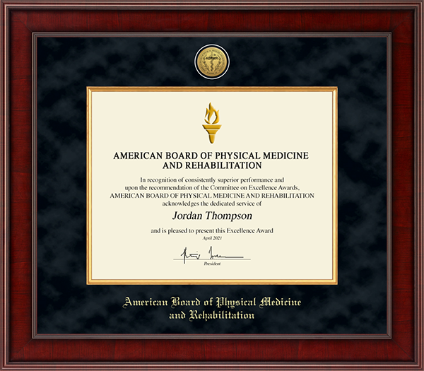 American Board of Physical Medicine and Rehabilitation Presidential Gold Engraved Certificate Frame in Jefferson