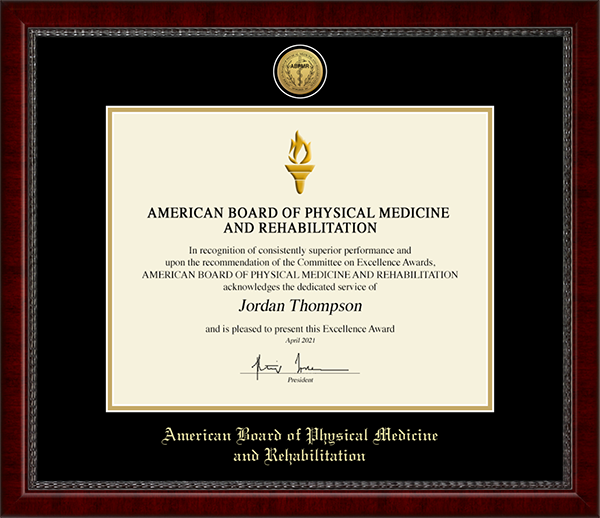 American Board of Physical Medicine and Rehabilitation Gold Engraved Medallion Certificate Frame in Sutton